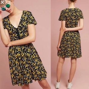 Maeve Yellow and Black Floral Dress